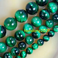 6mm /8mm/ 10mm/12mm Natural Green Tiger Eye Gemstone Round Loose Beads 15''L