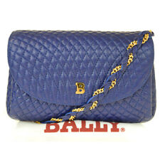Authentic BALLY Logo Chain Shoulder Bag Leather Blue Gold-Tone Italy 36BJ177