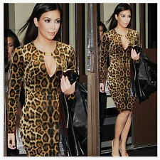 Lady Women Leopard Keyhole Sexy Party Clubwear Tunic Evening Prom Bodycon Dress