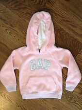 EUC Baby Gap Size 4 Girls Pink Fleece Hooded Sweatshirt Metallic Silver Accents