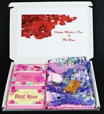 Personalised Mother's Day gift hamper Scarf Photo frame & Fudge