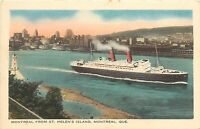 Postcard Montreal from St Helen's Island Ship Quebec Canada ship 1947
