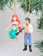 Disney The Little Mermaid Ariel & Prince Eric Set PVC Fig Holiday Ornaments New