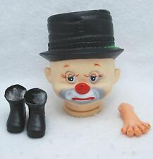 "Vintage ""Doll Craftin'"" Brand Doll Parts: Hobo Clown W/ Black Hat 6"""
