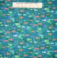 Nautical Fabric - Dream Boats Tropical Fish Blue Green - Quilting Treasures YARD