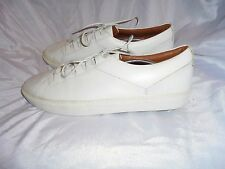 FRANK WRIGHT MEN'S WHITE  LEATHER LACE UP TRAINERS SIZE UK 12 EU 46 VGC