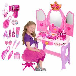 PRINCESS GLAMOUR MIRROR KIDS GIRLS VANITY DRESSING TABLE PLAY SET FUN TOY GIFT E