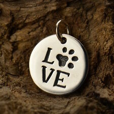 Dog Paw Print Love Disc Sterling Silver Charm Pendant Necklace Animal Vet 1278
