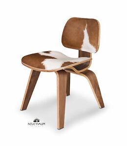 Ergonomic Cowskin Walnut Dining Table Chair Real Walnut Veneer And Cowskin
