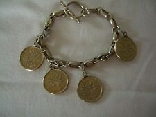 Vtg Silvertone Charm Bracelet w/ 4 Silverplated 1940'&50's Canadian Cents Charms