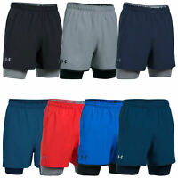 Under Armour Mens Qualifier 2-In-1 Training Shorts UA Running Shorts 1289625
