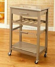 Country Farmhouse Solid Wood Rolling Kitchen Carts Stainless Steel Top Basket