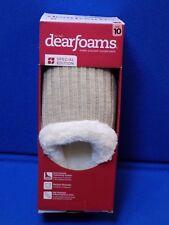 New 10 Dearfoams Oatmeal Heather Bedroom Shoes Slippers Tan Beige Ladies Womens
