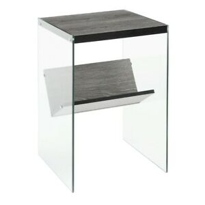 Convenience Concepts SoHo End Table, Weathered Gray/Glass - 131556WGY