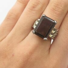 925 Sterling Silver Large Real Smoky Topaz Gemstone Ring Size 6 1/4