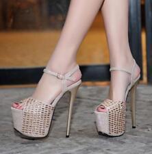 Womens Super Heels Stilettos Platform Rhinestones Ankle Straps Wedding Shoes T43