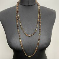 VINTAGE Long Glass Faceted Beads Necklace Brown Gold Tones Chain Link Layering