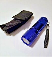 9 LED Mini Flashlight Torch- with Belt Holster -Blue