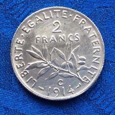 MONNAIE ANCIENNE DE 2F SEMEUSE EN ARGENT 1914 C   A VOIR!!!!