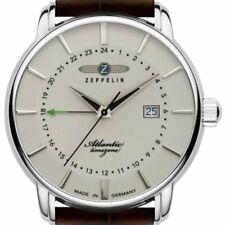ZEPPELIN 8442-5 ATLANTIC TIMEZONE- EDELSTAHL GMT / 24H ANZEIGE BEIGE NEU