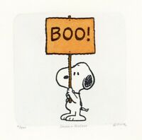 Snoopy Peanuts Artwork Sowa & Reiser #D/500 Hand Painted Etching Boo Sign