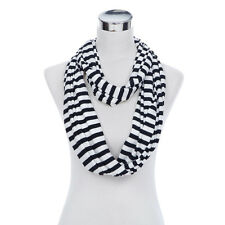 Soft Striped Infinity Loop Jersey Scarf - Different Colors Available