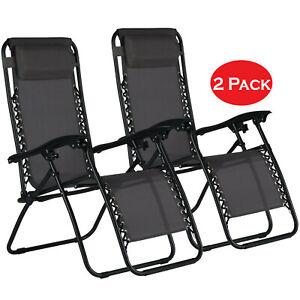 2x Zero Gravity Recliner Outdoor Chair Garden Beach Sun Lounger Portable UK