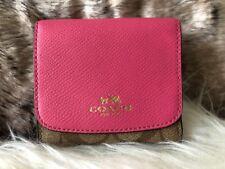 NWT Coach Signature PVC & Crossgrain Leather Small Wallet Khaki & Pink +Receipt