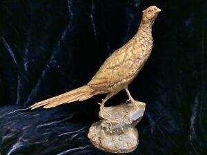 """19thC Antique signed Leon Bureau gilt bronze pheasant 11"""" by Societe des Bronzes"""