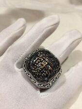 Vintage Large Stainless Steel Cross Crest Size 14 Men's Ring
