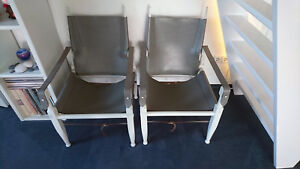 2 Safari Stühle Chair, Wilhelm Kienzle, 50er Design, Leder / Eiche
