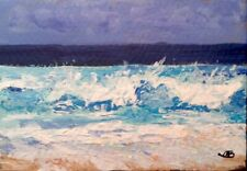 Broadway Original ACEO Impressionism Acrylic 2.5x3.5 in. Seascape painting