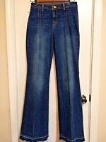 Arden B Womens 6 High Waist Flare Bell Bottoms Raw Hem Stretch Dark Wash Jeans