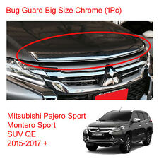 Mitsubishi Pajero Montero Sport Bug Guard Shield Hood Big Chrome 2016 - 2017