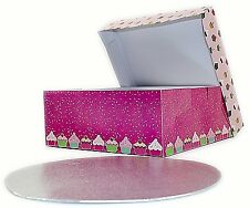 New Folding PINK Cake Box & Lid Wedding Birthday Party Food Muffin Cakebox Board