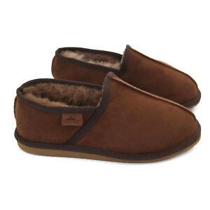 Classic Brown Men's Premium Genuine Leather Sheepskin Slippers Box & Gift Bag