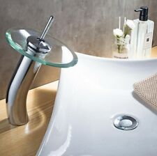 WELS Modern Round Glass Waterfall Hot and Cold Faucet Chrome Bathroom Faucet YY