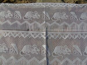 French a pair of white lace motif rat mouse with cheese  24'' x 29'' of each