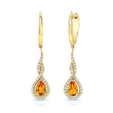 14k White Gold Pear Cut Citrine Diamond Dangle Teardrop Earrings 1.01TCW Natural