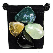 PERSONAL SPACE ENHANCER Tumbled Crystal Healing Set  = 4 Stones + Pouch + Card
