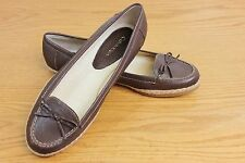 Calvin Klein Brown Leather Flat Shoes US Sz 7 1/2 M Driving Moccasin 'Clive'