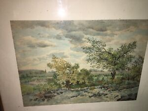 Magnificent English 19th Century Watercolor Children Playing in Pasture Signed!
