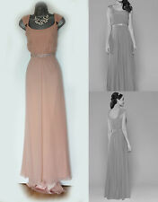 monsoon nude peach silk lainie fishtail verziert brautjungfer maxikleid uk 12