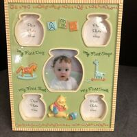 My First Photos Boxed CG1221 Baby Double Photo Frame Wood With Silver Icons
