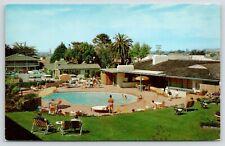 Monterey California~Casa Munras Hotel~Kidney Pool~1950s Cars~Postcard