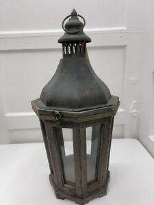 "Pottery Barn ~ Hillcrest Terrace ~ Wooden Indoor/Outdoor Lantern ~ 19"" High ~NEW"