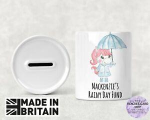 Personalised Any Name Savings Unicorn Rainy Day Fund - Money Box Piggy Bank