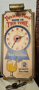 Vintage Pabst Blue Ribbon Beer Electric Lighted Wall CLOCK Sign NOW IS THE TIME