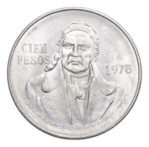 MEXICO 1978 100 PESOS SOLID SILVER COIN MORELOS LOW MINTAGE UNCIRCULATED *151