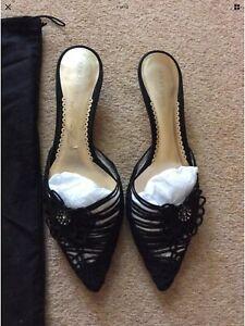 Giorgio Armani womens kitten heel black jewel shoes 36 UK 3